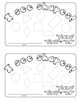 I See Shapes Activity Mini Book, Plane, Flat, 2D