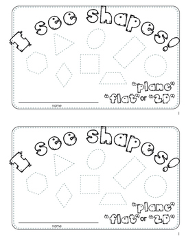 I See Shapes Activity Mini Book, Plane, Flat, 2D