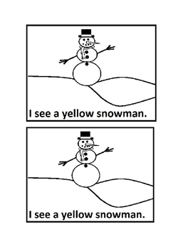 I See Snowman Color Emergent Reader Book in Black &White for PreK &Kindergarten
