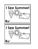 I See Summer Emergent Reader Book Black & White