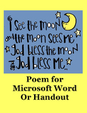I See The Moon and The Moon Sees Me Poem in Microsoft Word or Handout