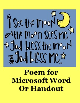 I See The Moon and The Moon Sees Me Poem in Microsoft Word