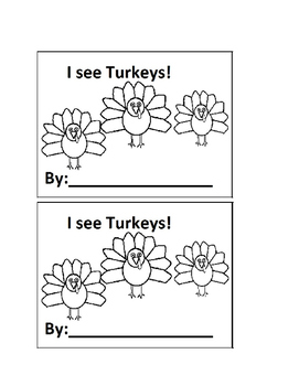 I See Turkeys Counting Emergent Reader book for Preschool or Kindergarten