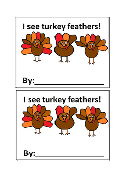 I See Turkeys Feathers-Counting Emergent Reader Book in Color for Preschool