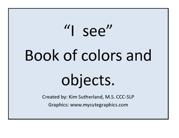 """""""I See"""" book of color and objects"""