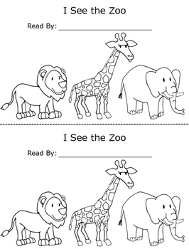 I See the Zoo Printable Emergent Reader Book for Early Readers