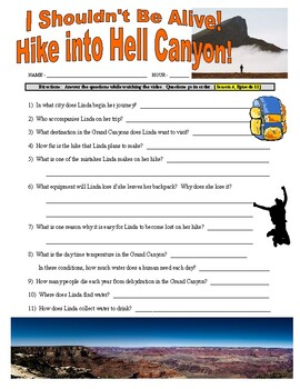 I Shouldn't B Alive : Hike into Hell Canyon (video worksheet)
