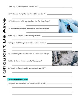 I Shouldn't Be Alive : Alaskan Avalanche (video worksheet)