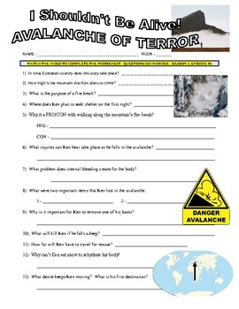 I Shouldn't Be Alive : Avalanche of Terror (video worksheet)