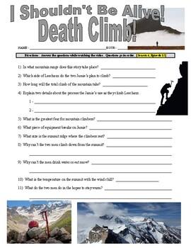 I Shouldn't Be Alive : Death Climb (video worksheet)