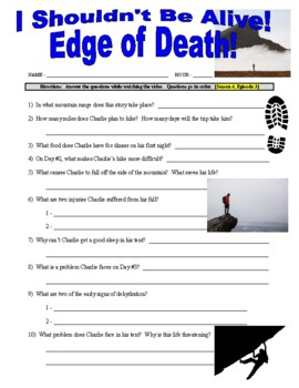 I Shouldn't Be Alive : Edge of Death (video worksheet)