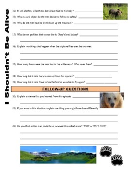 I Shouldn't Be Alive : Escape from Bear Mountain (video worksheet)