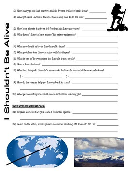 I Shouldn't Be Alive : Left for Dead on Everest (video worksheet)