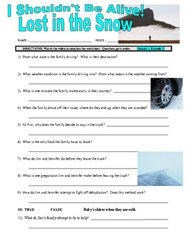I Shouldn't Be Alive : Lost in the Snow (video worksheet)