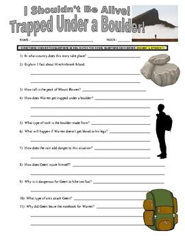 I Shouldn't Be Alive : Trapped Under a Boulder (video worksheet)