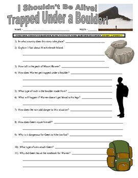 I Shouldn't Be Alive : Trapped Under a Boulder (video worksheet)