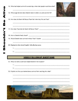I Shouldn't Be Alive : Trapped in the Canyon (video worksheet)