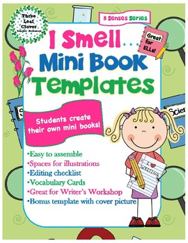 I Smell Mini Books Template - with Vocabulary Cards - 5 Senses