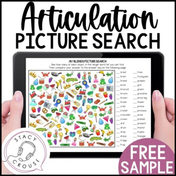 I Spot Articulation Picture Search /r/ Blends FREEBIE