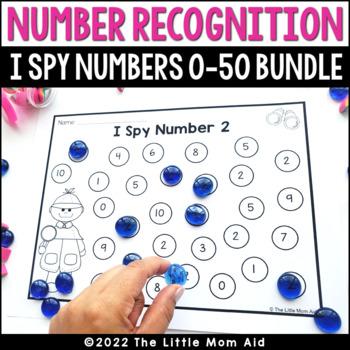 I Spy 0 to 30 Number Recognition Practice Worksheets BUNDLE