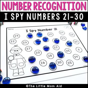 I Spy 21 to 30 Number Recognition Practice Worksheets