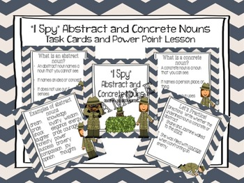 """""""I Spy"""" Abstract and Concrete Nouns- Task Cards and Powerpoint Lesson"""