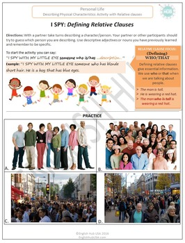 I Spy Activity: Describing People with Defining Relative Clauses  (Adult ESL)