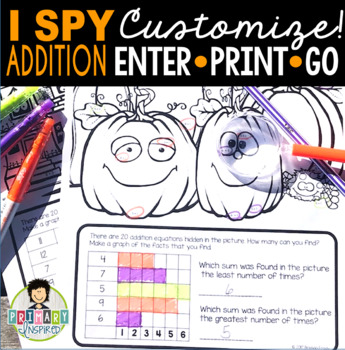 I Spy Addition Facts ~Halloween~ CUSTOMIZABLE!