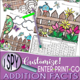 I Spy Addition Facts ~SPRING Edition~ CUSTOMIZABLE!