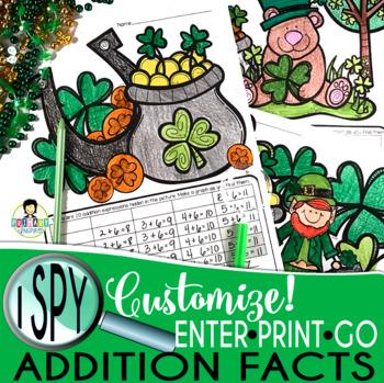 I Spy Addition Facts ~St. Patrick's Day~ CUSTOMIZABLE!