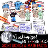 I Spy Sight Words/Math Facts *Veterans Day* CUSTOMIZABLE!