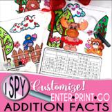 I Spy Addition Facts ~Valentine Edition~ CUSTOMIZABLE!