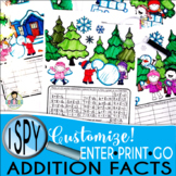 I Spy Addition Facts ~Winter~ CUSTOMIZABLE!