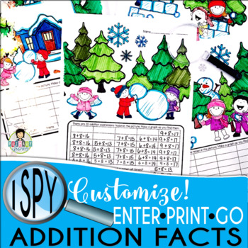 I Spy Addition Facts ~Winter~ CUSTOMIZABLE!