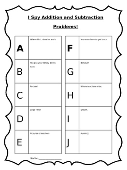 I Spy Addition and Subtraction Problems