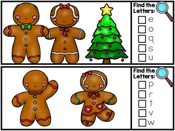I Spy Alphabet Literacy Center - Gingerbread Edition