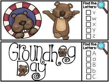 I Spy Alphabet Literacy Center - Groundhog Edition