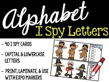 I Spy Alphabet Literacy Center - Thanksgiving and Pilgrims Edition