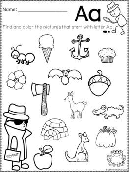 alphabet worksheets a z kindergarten beginning sound worksheets. Black Bedroom Furniture Sets. Home Design Ideas