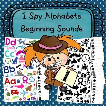 I Spy Alphabets-Beginning Sounds-Color & Blk/White