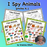 I Spy Animals Worksheets for K-1 Sorting in Categories at