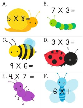 I Spy BUGS Multiplication Facts 3.OA.C.7 3rd Grade Math CCSS Around the Room