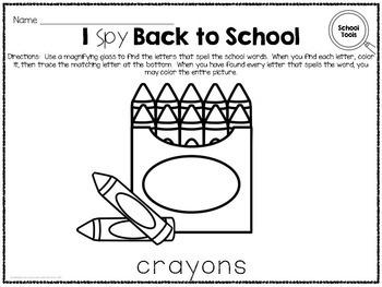 I Spy - Back to School Words