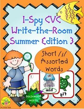 I-Spy CVC Mirror Words - Short /i/ Assorted Words (Summer Edition) Set 3