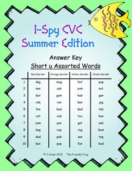 I-Spy CVC Mirror Words - Short /u/ Assorted Words (Summer Edition) Set 3