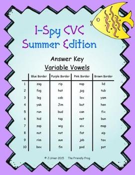 I-Spy CVC Mirror Words - Variable Vowel Words (Summer Edition) Set 3