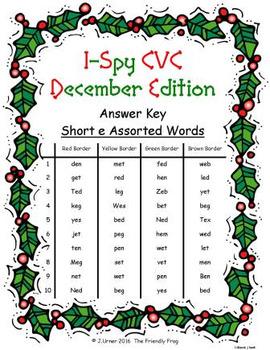 I-Spy CVC Crack the Code - Short /e/ Assorted Words (December Edition) Set 2