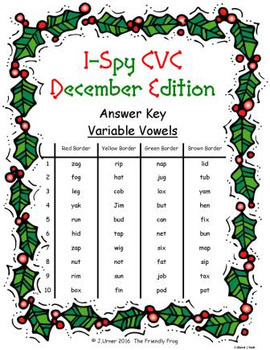 I-Spy CVC Crack the Code - Variable Vowel Words (December Edition) Set 1