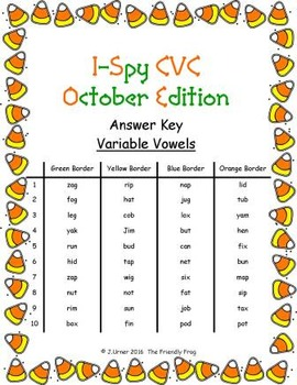 I-Spy CVC Crack the Code - Variable Vowel Words (October Edition) Set 2