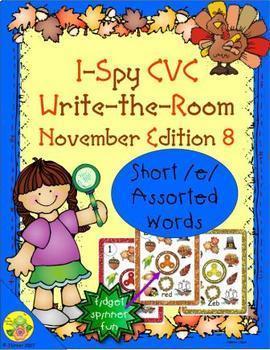 I-Spy CVC Fidget Spinner Fun - Short /e/ Assorted Words (November Edition)